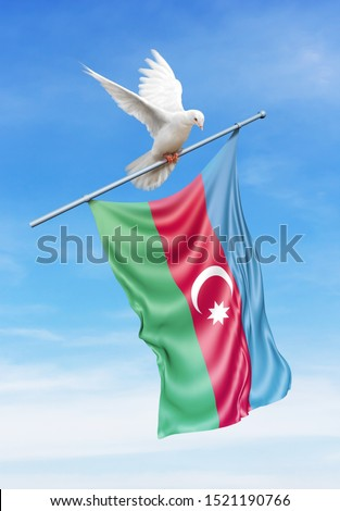 Azerbaijan flag on a pole is carried by a bird while flying against a blue sky background - 3D illustration. #1521190766