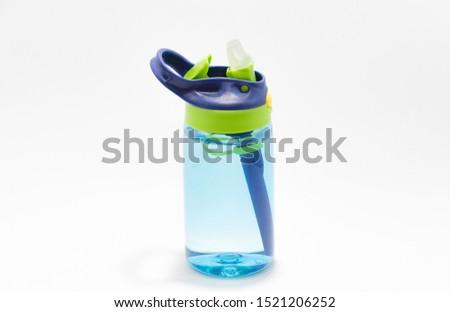 Blue water bottle for children Open tube type isolate white background