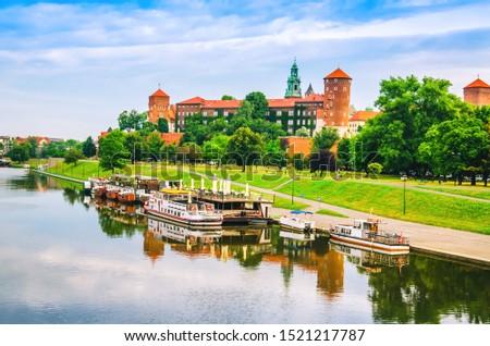 Scenic view on Wawel Royal Castle in Krakow city #1521217787