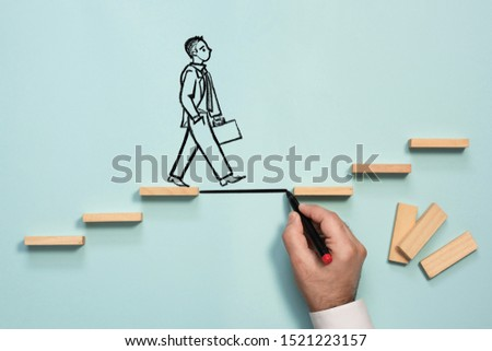 Career Planning and Challenge Concept. Businessman Getting Help Achieving Goals. #1521223157
