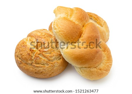Three white bread rolls isolated on white. Round rustic, plaited and french. #1521263477