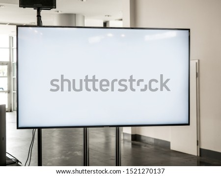Business fair and exhibition event advertising LCD television screen, white empty TV Mock-up, art gallery #1521270137