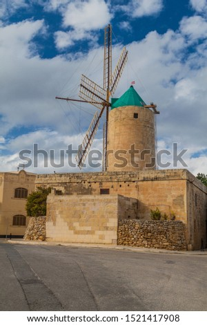 Ta' Kola Windmill in Xaghra village on Gozo island, Malta #1521417908