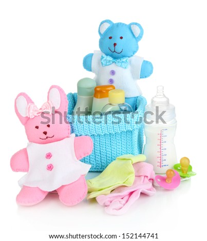 Baby accessories isolated on white #152144741