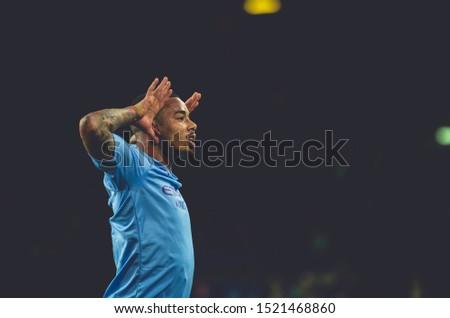 KHARKIV, UKRAINE - September 18, 2019: Portrait Gabriel Jesus celebrate goal scored close up during the UEFA Champions League match between Shakhtar vs Manchester City, Ukraine #1521468860