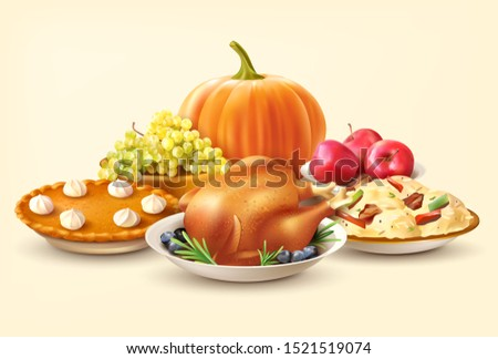 Thanksgiving Day background with pumpkin and traditional dishes. Vector illustration. Royalty-Free Stock Photo #1521519074