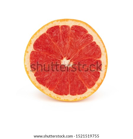 Half sliced fresh orange grapefruit with red juicy pulp, isolated on a white background front side. #1521519755