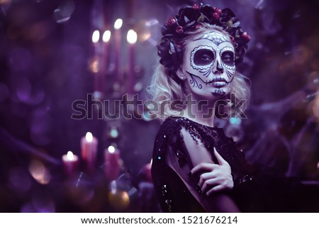 Day of The Dead. Charming and dangerous Calavera Catrina in an old abandoned house. Sugar skull girl. Dia de los muertos. Halloween. #1521676214