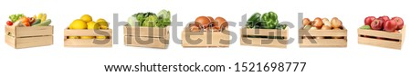 Set of wooden crates with fruits, vegetables and eggs on white background #1521698777