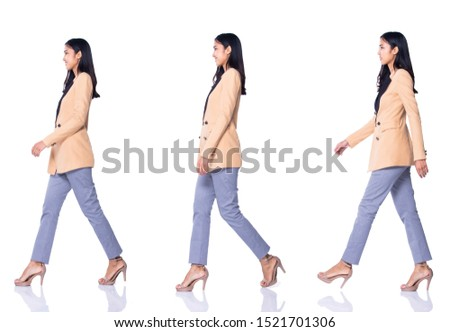 Full Length Snap Figure 20s 30s Asian Business Woman Stand in cream Formal proper Suit pants and high heel shoes, studio lighting white background isolated, collage group pack walks many poses #1521701306