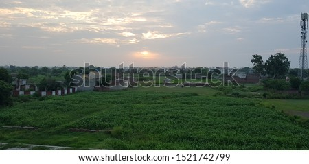 Beautiful sunrise in meadow, sunrise in town, sunrise on green pasture #1521742799