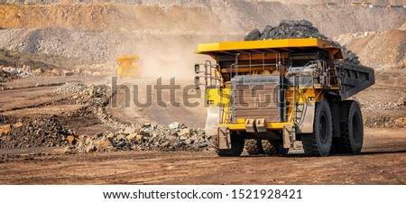 Open pit mine industry, big yellow mining truck for coal anthracite. #1521928421