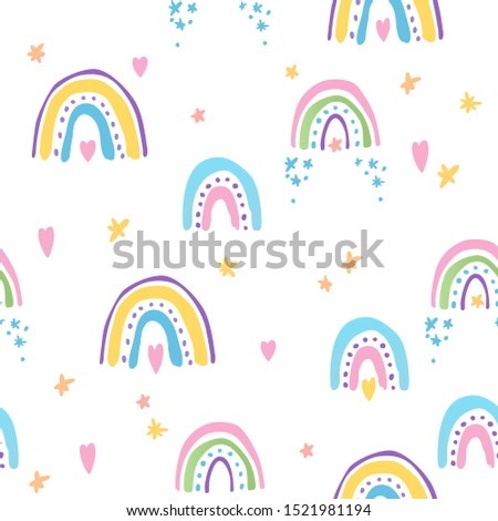 Seamless pattern with colorful rainbows.  #1521981194