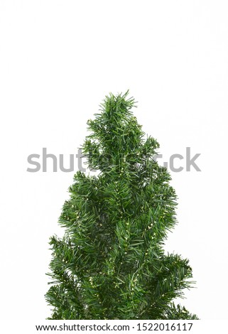 Fir tree isolated on white background christmas new year winter, minimal, Flat lay, copy space for text #1522016117