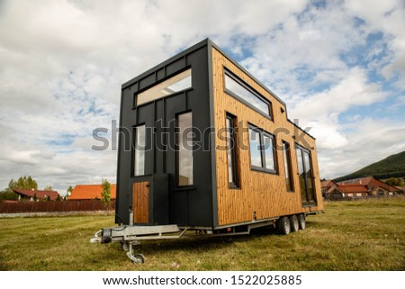 Mobile tiny house, great for outdoor experiences and holidays. Royalty-Free Stock Photo #1522025885