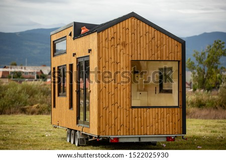 Mobile tiny house, great for outdoor experiences and holidays. Royalty-Free Stock Photo #1522025930