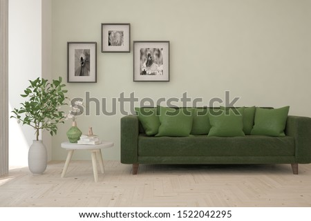 Stylish room in white color with sofa. Scandinavian interior design. 3D illustration #1522042295