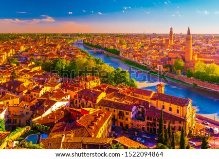 Panoramic view of Verona, Italy with the Santa Anastasia Church and the Lamberti Tower. Beautiful photo of italian landmarks #1522094864