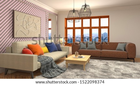 Interior of the living room. 3D illustration. #1522098374