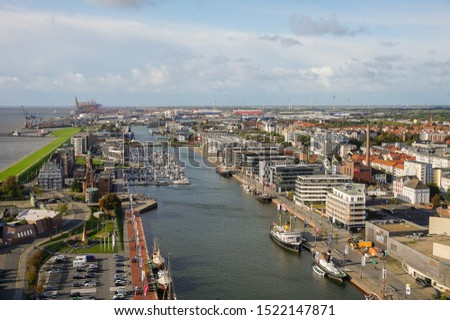 City of Bremerhaven in the sunlight with a view from above, Germany. #1522147871