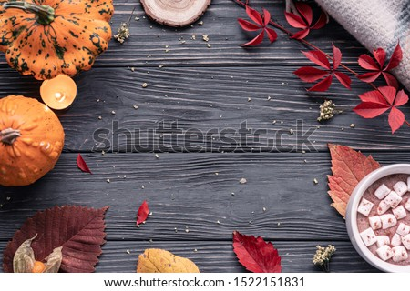 Autumn fall holiday cozy background with pumpkin, orange leaves, hot cocoa drink marshmallow in cup on brown wooden table, happy halloween thanksgiving decoration, above top overhead view, copy space #1522151831