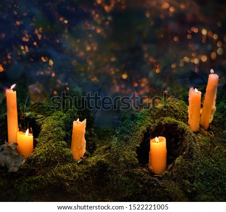 mysterious forest with witchcraft candles. Halloween magic Background. Dark magic, witch ritual scene. copy space #1522221005