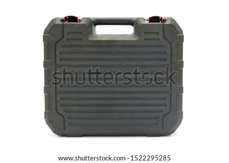 A portable portable black plastic toolbox standing isolated on white background #1522295285
