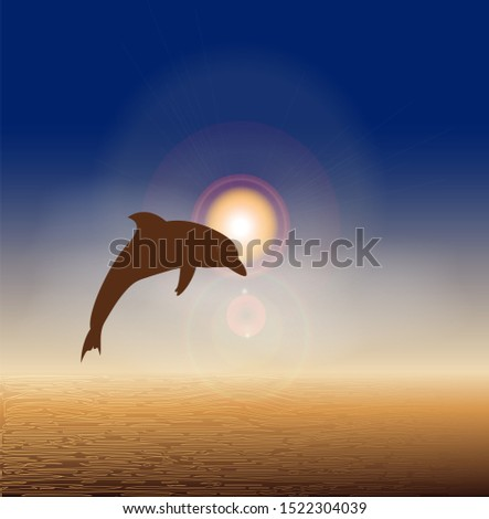 Dolphin and beach on sunset background. Travel Postcard. #1522304039