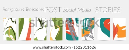 Creative backgrounds for social media. Editable story templates. Pastel colored with hand drawn scribbles promotional backgrounds for social media apps. #1522311626