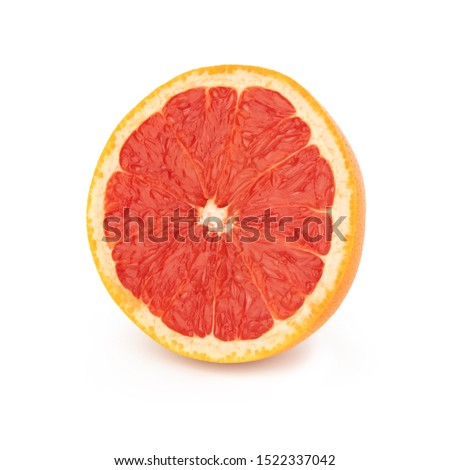Half sliced fresh orange grapefruit/pomelo with red juicy pulp, isolated on a white background front side. #1522337042