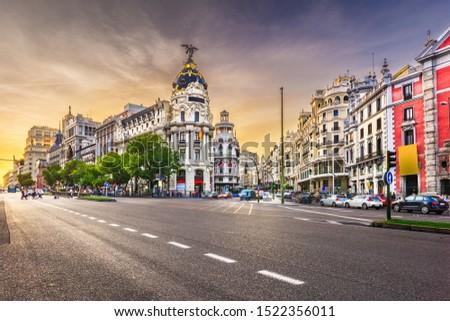 Madrid, Spain cityscape at Calle de Alcala and Gran Via. #1522356011