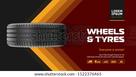 Tyre car advertisement poster. Car tire and track traces. Vector illustration dirty grunge. 3D illustration wheel. Black rubber tire.  Banner. Promo. Information. Store. Action. Car Service. Repair. #1522376465