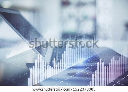 Forex graph hologram on table with computer background. Double exposure. Concept of financial markets. #1522378883