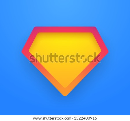 Template colorful gradient shield superhero on a blue background. Symbol diamond. Vector illustration. EPS 10