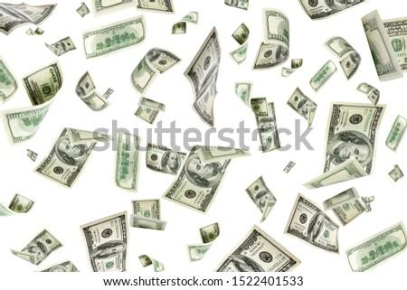 Money stack. Hundred dollars of America. Falling money isolated, #1522401533