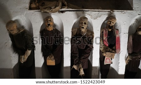 PALERMO, ITALY - APRIL 29, 2019: Catacombs of the Capuchins are burial catacombs in Palermo. #1522423049