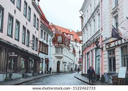 Tallinn, Estonia - October 2, 2019: Historic and cultural center, Old Town, Tallinna vanalinn with tender colorful beautiful buildings and cozy streets; autumn mood #1522462733