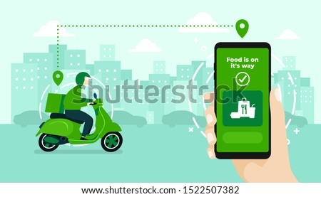 Food delivery service by scooter with courier. Hand holding mobile application tracking a delivery man on a moped. city skyline in the background. #1522507382