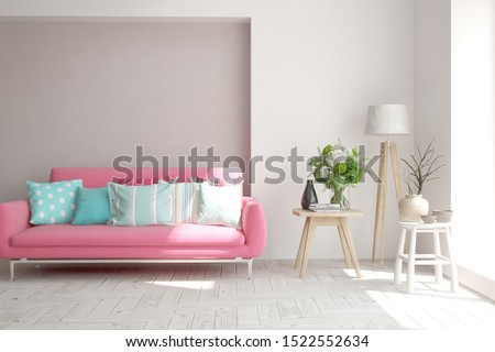 Stylish room in white color with sofa. Scandinavian interior design. 3D illustration #1522552634