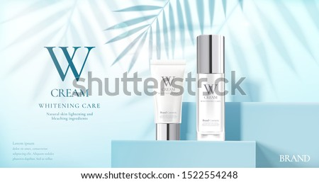 Skin care product set ads with white bottles on blue square podium stage and palm leaves shadows in 3d illustration #1522554248