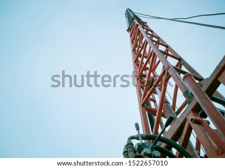 height drop and penatration of pile, pile driving in construction site, piling on blue sky background #1522657010