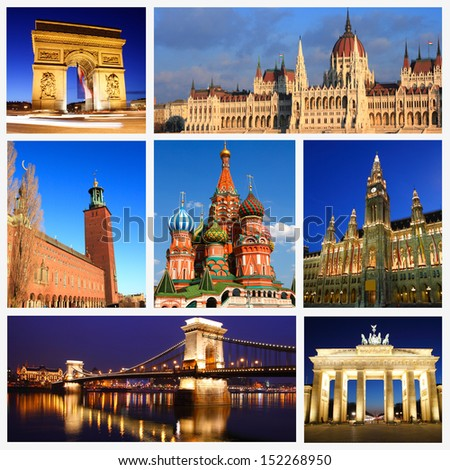 Impressions of European Landmarks, Collage of Travel Images