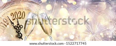New Year 2020 - Countdown And Toast With Champagne And Clock  #1522717745