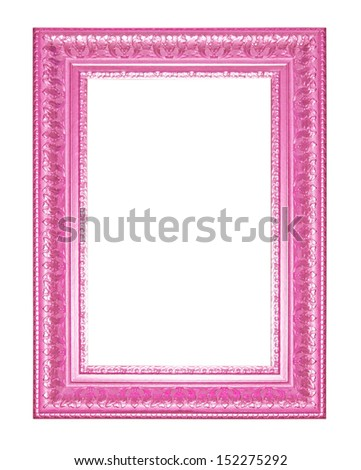 Old Antique Pink  frame Isolated Decorative Carved Wood Stand Antique Black  Frame Isolated On White Background