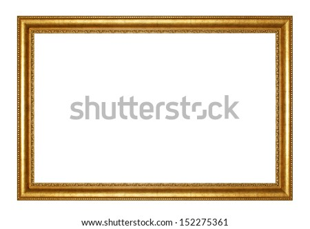 Old Antique gold  frame Isolated Decorative Carved Wood Stand Antique Black  Frame Isolated On White Background #152275361