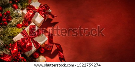 Merry Christmas and Happy New Year, Holidays greeting card with blurred bokeh background Royalty-Free Stock Photo #1522759274
