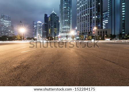 the light trails on the modern building background in shanghai china #152284175