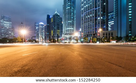 the light trails on the modern building background in shanghai china #152284250
