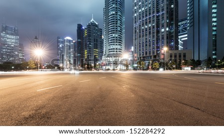 the light trails on the modern building background in shanghai china #152284292