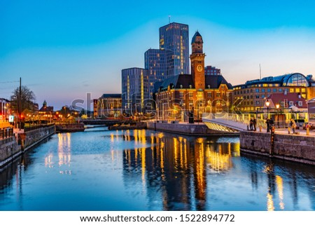 Sunset view of skyline of Malmo dominated by the world maritime university, Sweden #1522894772